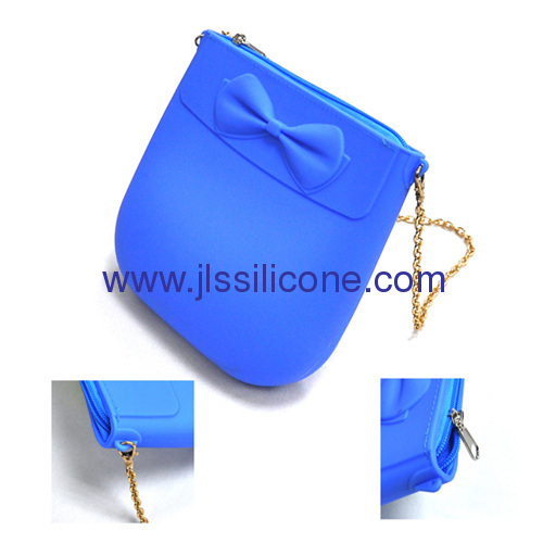 Fashion silicone shopping bag with metal shoulder belt