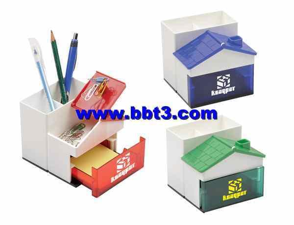 Promotional house shape pen holder with clip holder and memo holder