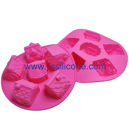 6 cup christmas house shaped silicone cake baking molds