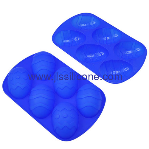 Creative bakeware of 6 cup easter egg shaped silicone cake baking molds