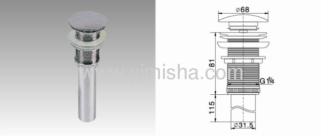 LongBrass pop-up chrome plated waste drain with Rubber Ring