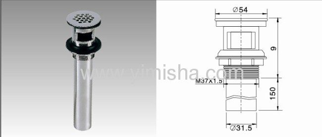 YIMISHA Brass Chrome Plated Waste Drain