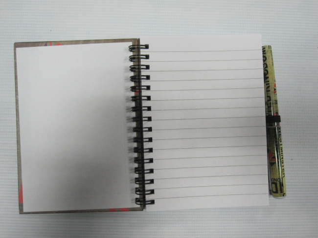 A6 6 subjectcollege ruled hardcover spiral notepad/notebook with pen set
