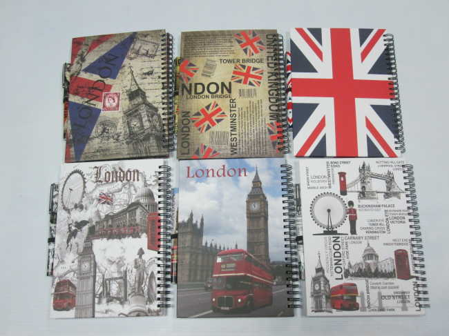 A5 6 subject hardcover double spiral notebook college ruled with pen set