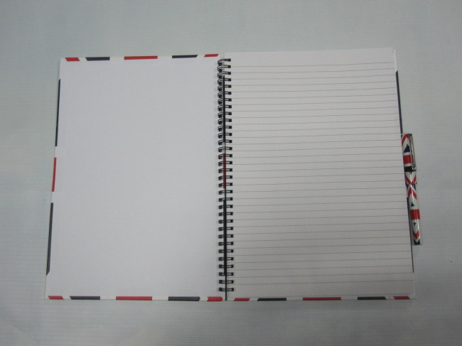 A4 3 subject hardcover spiral notebok college ruled with pen set
