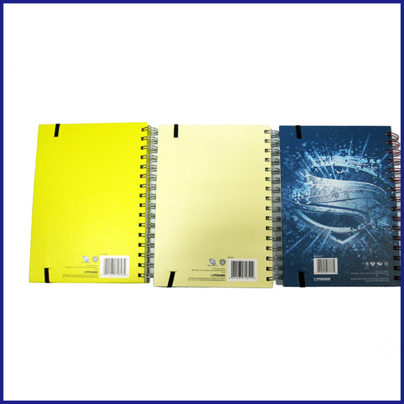 B5 3 subject hardcover spiral notebook college ruled with elastic