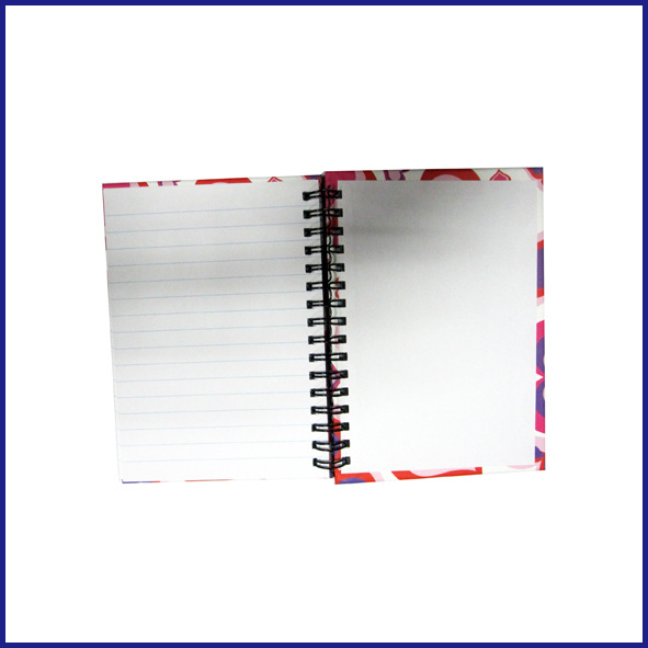 A6 3 subject college ruled hardcover spiral notebook