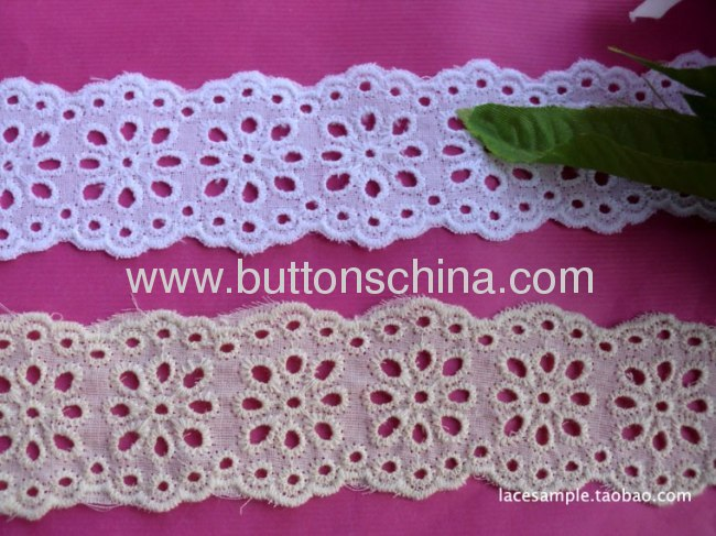 75%COTTON 25% POLYESTER FABRIC LACE EMBROIDERY