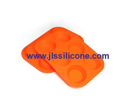 6 cavity round bakeware silicone baking pan