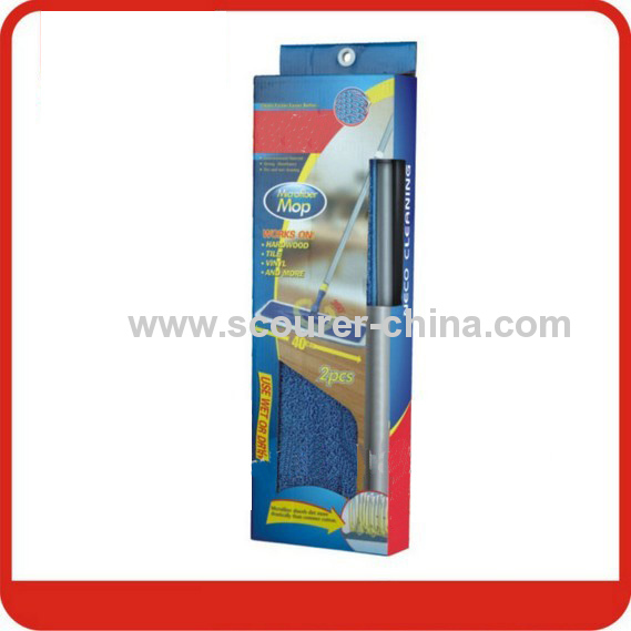 Flat Microfiber Mop with three sections steel handle