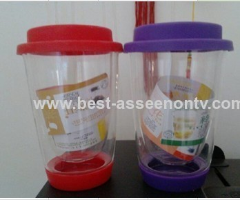Double Wall Glass Coffee Cup with silicon lid and base Mug