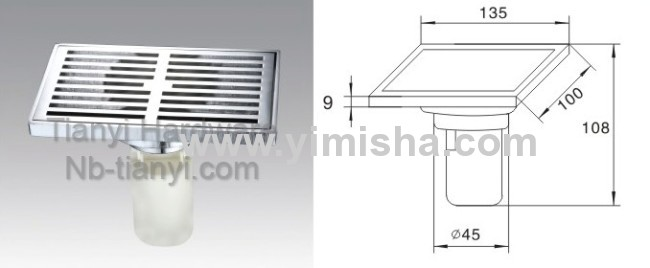 Rectangular Brass Chrome Plated High Siphon Floor Drain