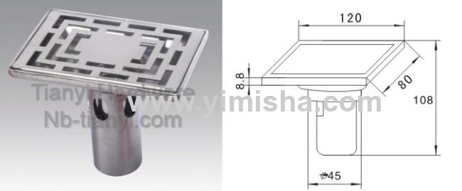 Rectangular Stainless Steel High Siphon Floor Drain