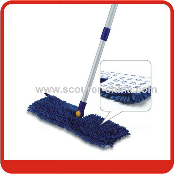 Dual action microfiber flip mop with Chenille +aluminum+ PP