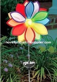 Colorful pinwheel solar garden light