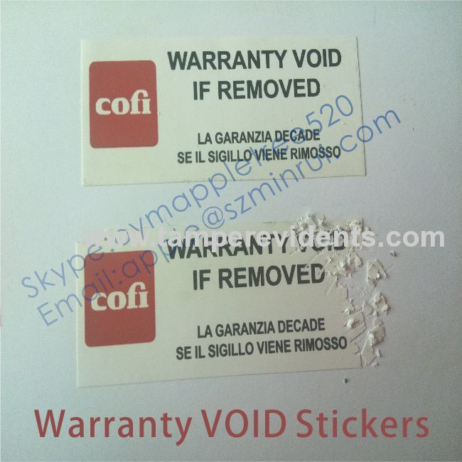 Warranty Void If Seal Broken Labels From China