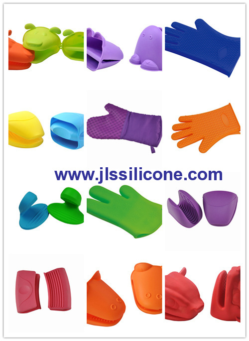 durable silicone oven mitts glove and heat resistant pot holders with ear