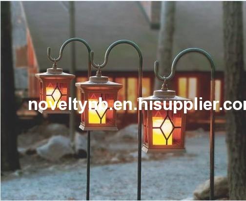 wooden solar lantern for garden