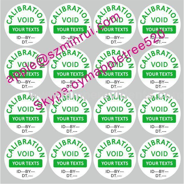 Custom Destructive Calibration Labels,Tamper Evident QC Security Seals,Round Destructible Calibration VOID Stickers