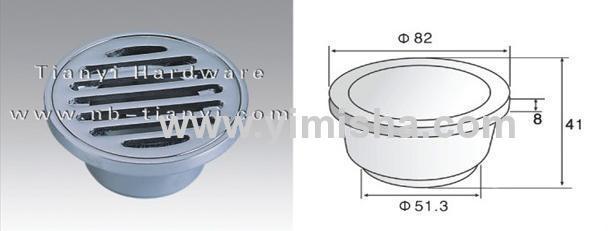 Φ82mm×8mmBrass Chrome Plated Floor Drain with Outlet Diameter 51.3mm