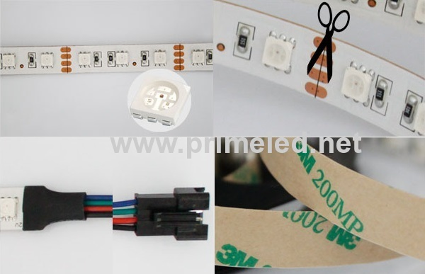 White PCB 60LED/M RGB LED Strip lighting