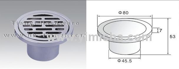 Φ80mm×7mm Brass Chrome Plated Floor Drain with Outlet Diameter 45.5mm