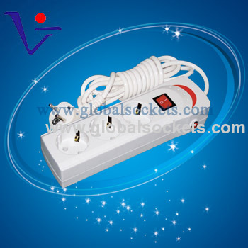 German Socket with red switch and surge protector and Overload protector