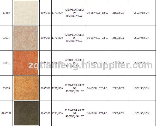 300X300MM- NON-SLIP glazed ceramic floor & wall tiles