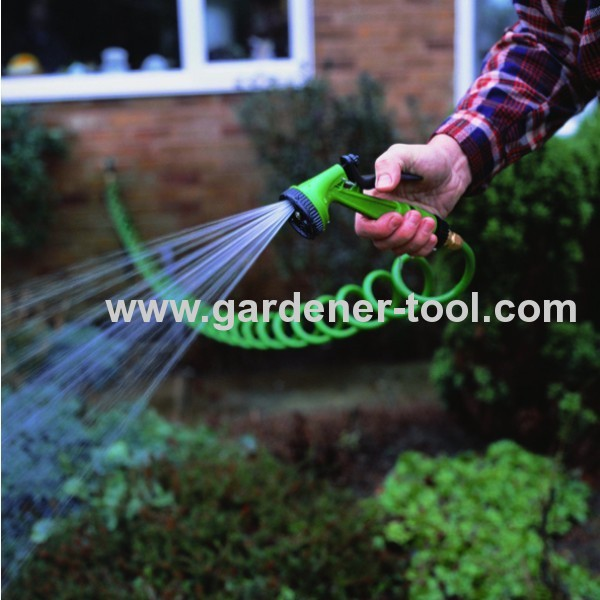 30M Garden Water Coil Hose With 4-Function Garden Spray Gun Nozzle