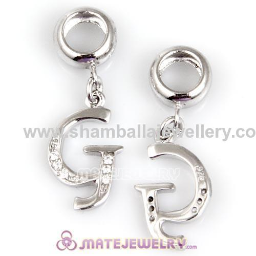 Sterling Silver Dangle charms crystal European letther dangle charm beads