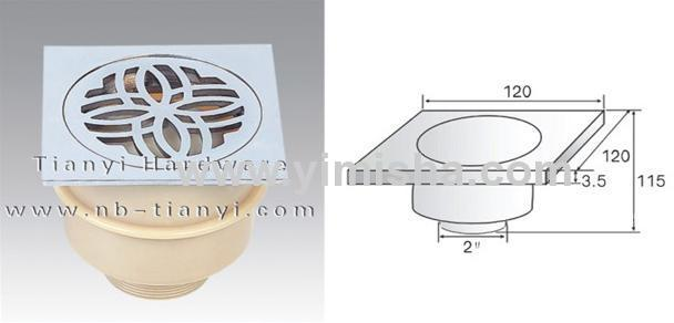 Square High-sealed Anti-odour Floor Drain with Outlet Diameter 2