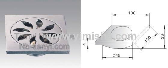 100mmx100mmx4mm Zinc Alloy Chrome Plated Pop-up Floor Drain