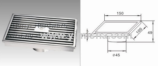 Rectangular High Grade Zinc Alloy Anti-odour Floor Drain