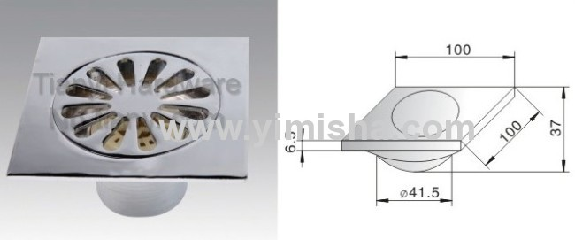 Zinc Alloy Chrome Plated Floor Drain with Outlet Diameter 41.5 mm