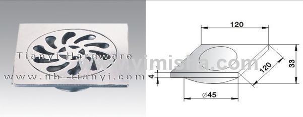 120mmx120mmx4mm Zinc Alloy Chrome Plated Anti-Odour Floor Drain