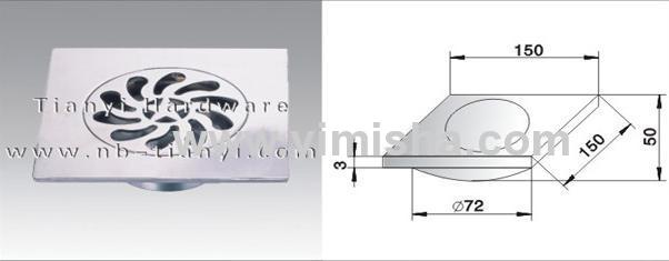 150mmx150mmx3mm Zinc Alloy Chrome Plated Anti-odor Floor Drain