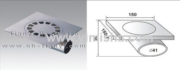 Square Zinc Alloy Chrome Plated Floor Drain with Elbow