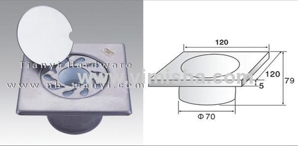 120mm×120mm×5mm High Grade Stainless Steel High Sealed Anti-odor Floor drain with Clean Out