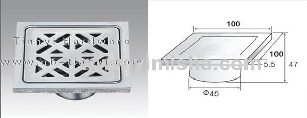100mm×100mm×5.5mmStainless Steel Anti-Odor Floor Drain