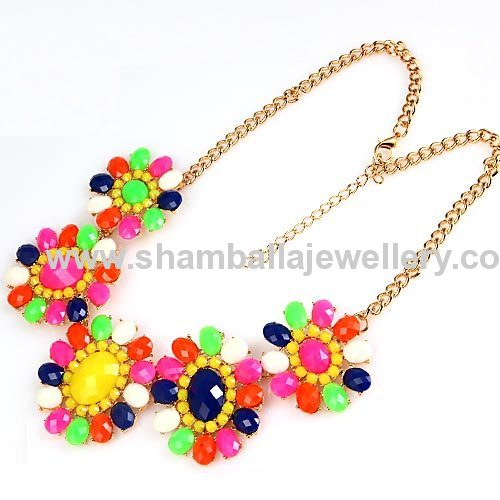 fashion jewelry shourouk necklace, Flower Choker bib necklace