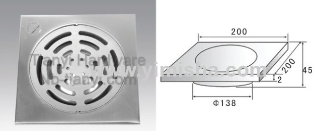 200mm x 200mm x 2mm Stainless Steel Anti-Odour Floor Drain with Clean Out