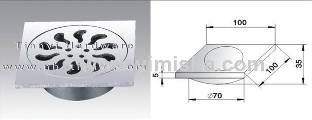 High Grade Casting Stainless Steel Floor Drain with Outlet Diameter 70mm