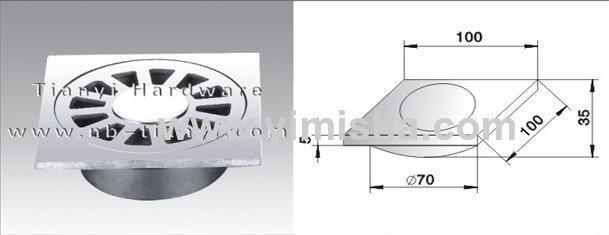 100mm×100mm High Grade Casting Stainless Steel Floor Drain