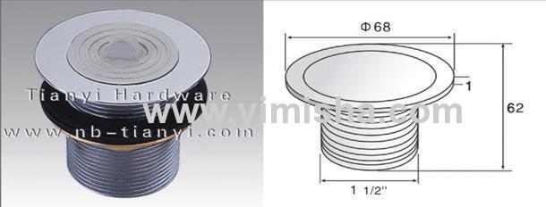 Φ68mm X 1mm Brass Chrome Plated Waste Drain with Rubber Ring