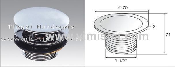 Φ70mmX2mm Brass pop-up Chrome Plated Waste Drain with Strainer Mesh