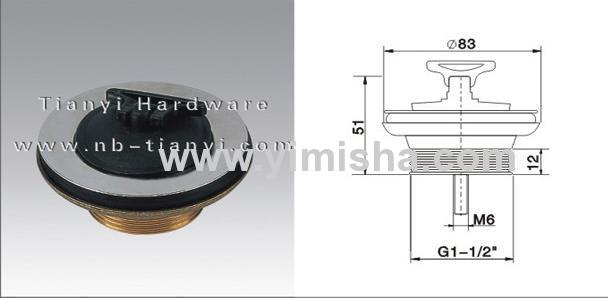 Φ83mm Brass Chrome Plated Waste Drain with Rubber Plug