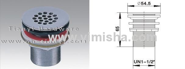 YIMISHA Brass Chrome Plated Waste Drain with Rubber Plug