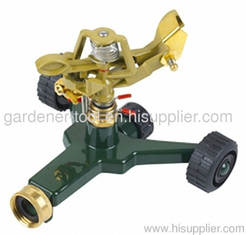 metal garden water sprinkler with zinc alloy base with wheel