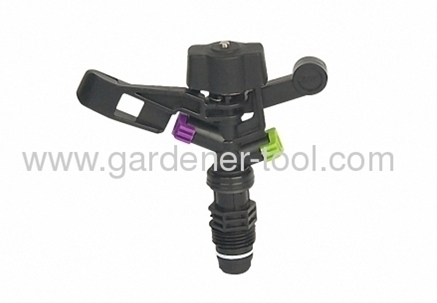 Plastic farm impulse sprinkler with G1/2male thread tapping.