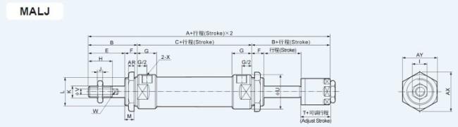 MALJ Double Rod And Ajustable Stroke type Mini PnumaticCylinder